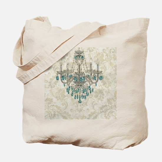 blue chandelier damask Tote Bag