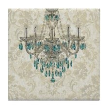 blue chandelier damask Tile Coaster