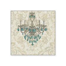 "blue chandelier damask Square Sticker 3"" x 3"""