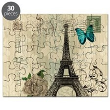 paris eiffel tower butterfly damask Puzzle