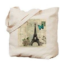 paris eiffel tower butterfly damask Tote Bag
