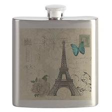 paris eiffel tower butterfly damask Flask