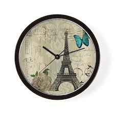 paris eiffel tower butterfly damask Wall Clock