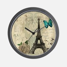 paris eiffel tower butterfly damask Wall Clock