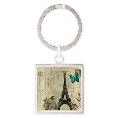 paris eiffel tower butterfly damas Square Keychain