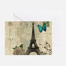paris eiffel tower butterfly damask Greeting Card
