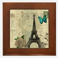 paris eiffel tower butterfly damask Framed Tile