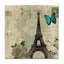paris eiffel tower butterfly damask Tile Coaster