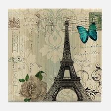 paris eiffel tower butterfly damask Tile Coaster