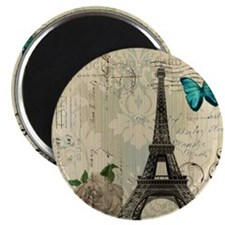 paris eiffel tower butterfly damask Magnet