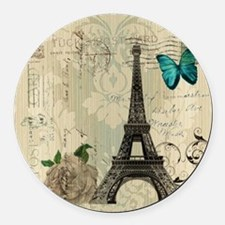 paris eiffel tower butterfly dama Round Car Magnet