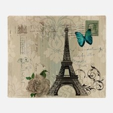 paris eiffel tower butterfly damask Throw Blanket