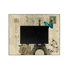 paris eiffel tower butterfly damask Picture Frame
