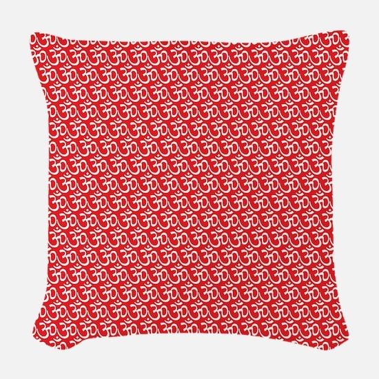 Yog Ohm Symbol Red Woven Throw Pillow