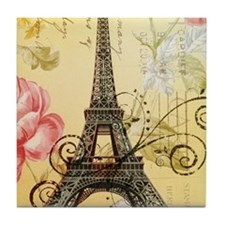 floral paris eiffel tower roses Tile Coaster