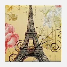 floral paris eiffel tower roses Tile Coaster