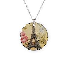 floral paris eiffel tower ro Necklace