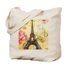 floral paris eiffel tower roses Tote Bag
