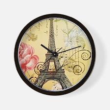 floral paris eiffel tower roses Wall Clock