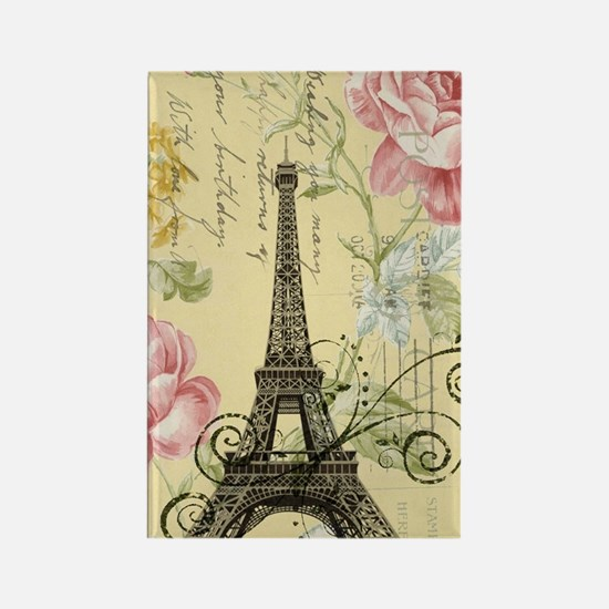 floral paris eiffel tower roses Rectangle Magnet