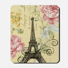 floral paris eiffel tower roses Mousepad