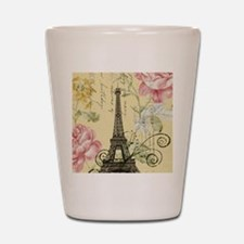 floral paris eiffel tower roses Shot Glass