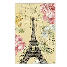 floral paris eiffel tower Postcards (Package of 8)