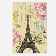 floral paris eiffel tower Postcards (Package of 8)