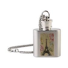floral paris eiffel tower roses Flask Necklace