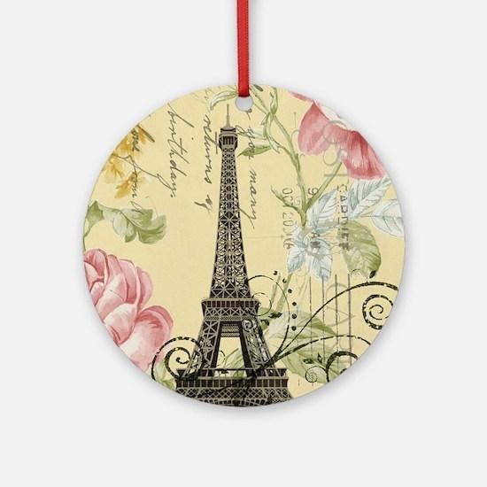 floral paris eiffel tower roses Round Ornament