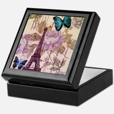 floral paris eiffel tower roses Keepsake Box