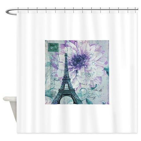 floral paris eiffel tower fashion Shower Curtain
