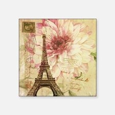 "floral paris eiffel tower p Square Sticker 3"" x 3"""