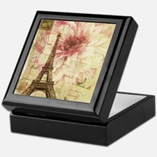 floral paris eiffel tower postmark Keepsake Box
