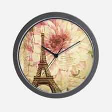 floral paris eiffel tower postmark Wall Clock