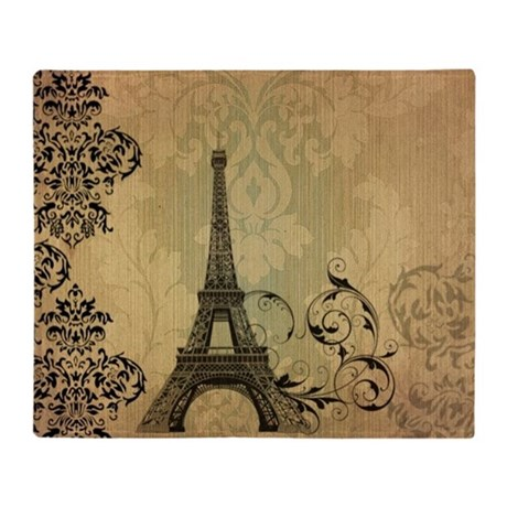 floral paris eiffel tower damask Throw Blanket