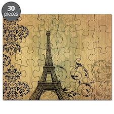 floral paris eiffel tower damask Puzzle