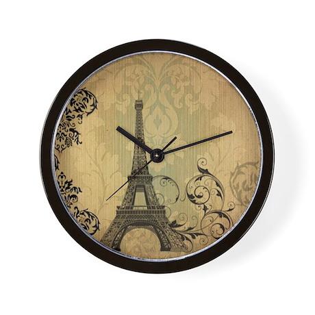 floral paris eiffel tower damask Wall Clock