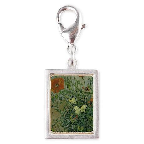Van Gogh Butterflies and Pop Silver Portrait Charm