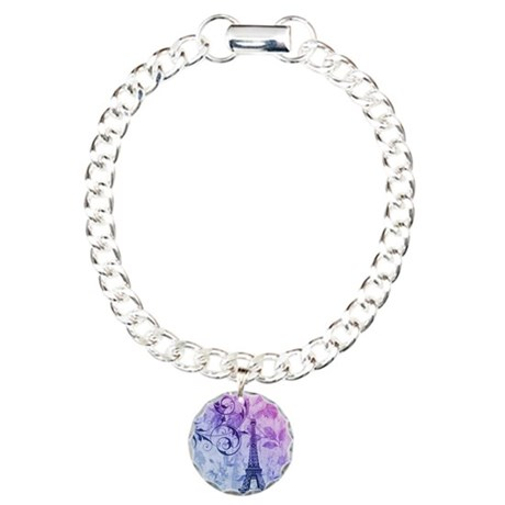 floral paris eiffel towe Charm Bracelet, One Charm