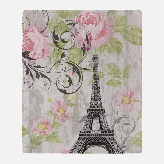 floral paris eiffel tower roses Throw Blanket