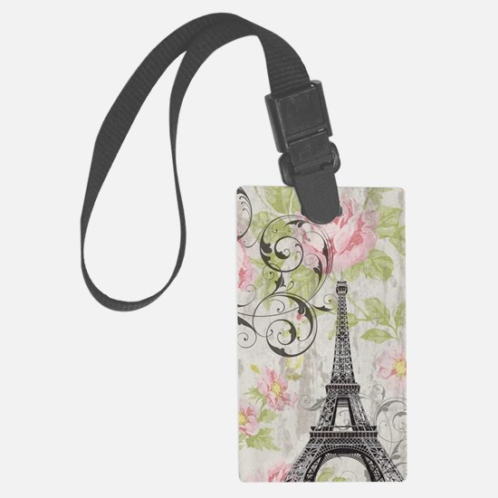 floral paris eiffel tower roses Large Luggage Tag