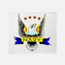 Navy Old School Eagle Throw Blanket
