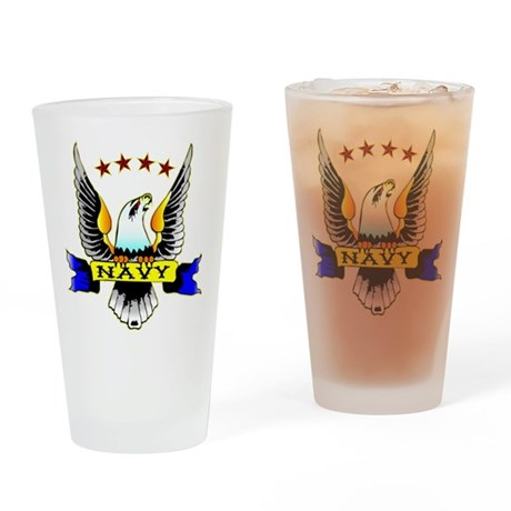Navy Old School Eagle Drinking Glass