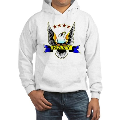 Navy Old School Eagle Hooded Sweatshirt