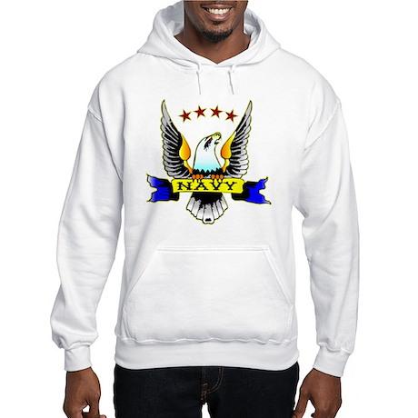 Navy Old School Eagle Hooded Sweatshirt