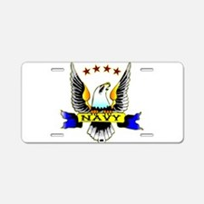 Navy Old School Eagle Aluminum License Plate