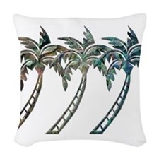 Palm Trees in Paua Shell Textures Woven Throw Pill