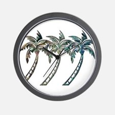 Palm Trees in Paua Shell Textures Wall Clock