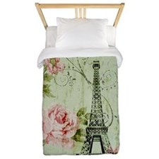 floral paris eiffel tower roses Twin Duvet